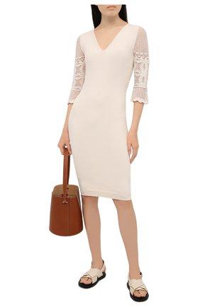 Женское платье из вискозы D.EXTERIOR светло-бежевого цвета, арт. 52339   Фото 2
