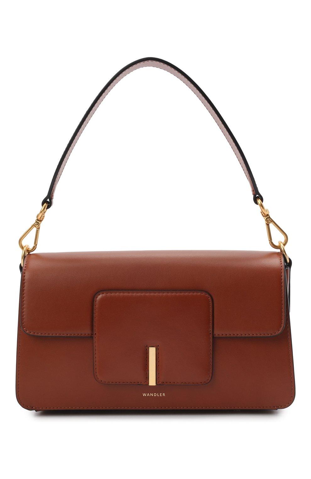 Женская сумка georgia WANDLER коричневого цвета, арт. GE0RGIA BAG   Фото 1 (Сумки-технические: Сумки через плечо, Сумки top-handle; Материал: Натуральная кожа; Размер: small)
