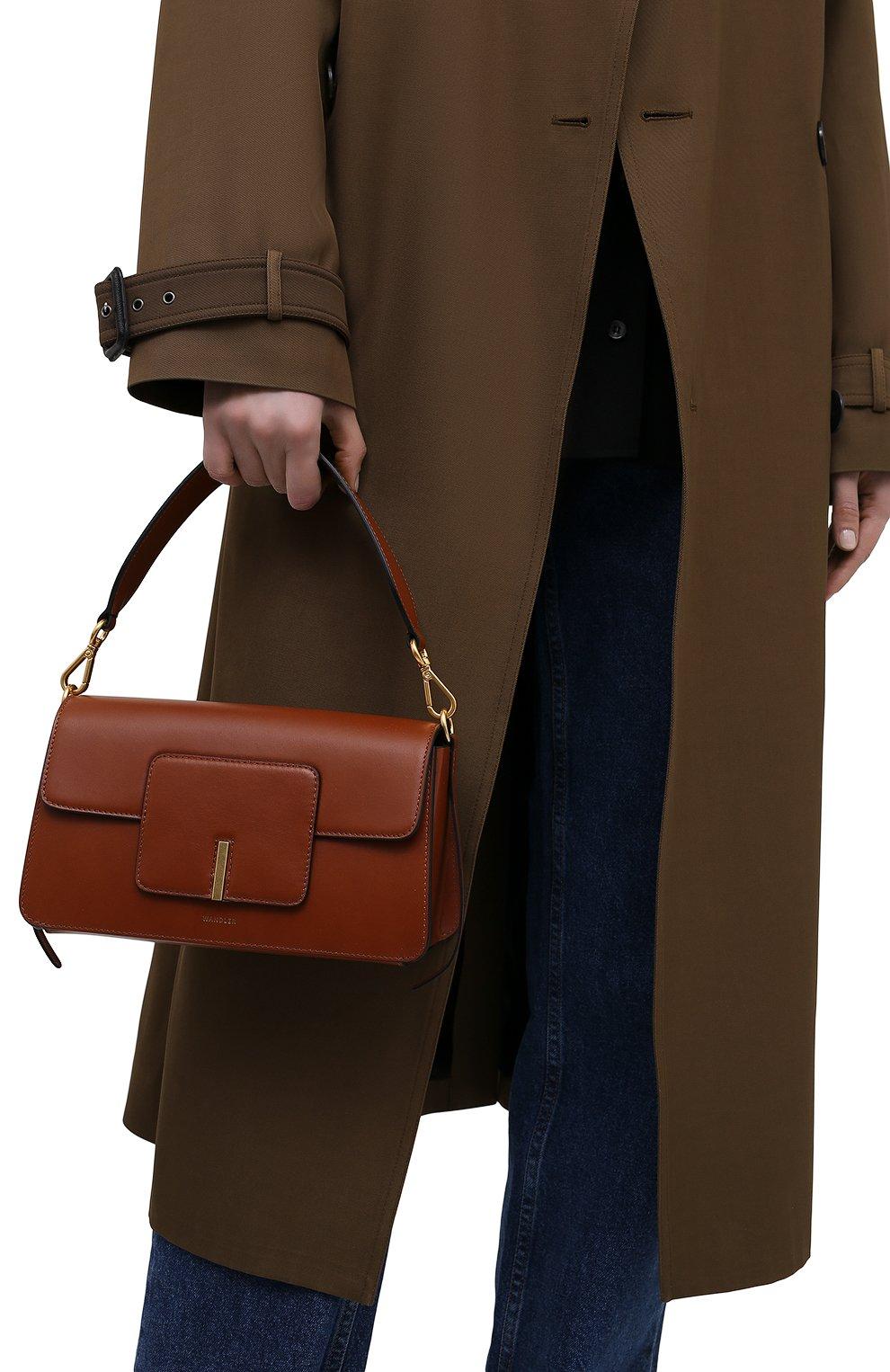 Женская сумка georgia WANDLER коричневого цвета, арт. GE0RGIA BAG   Фото 2 (Сумки-технические: Сумки через плечо, Сумки top-handle; Материал: Натуральная кожа; Размер: small)