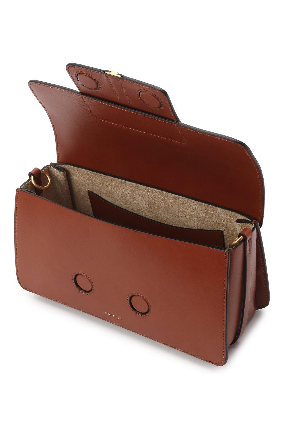 Женская сумка georgia WANDLER коричневого цвета, арт. GE0RGIA BAG   Фото 4 (Сумки-технические: Сумки через плечо, Сумки top-handle; Материал: Натуральная кожа; Размер: small)