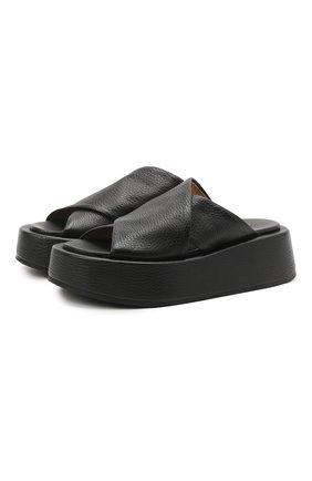 Женские кожаные шлепанцы MARSELL черного цвета, арт. MW6320/PELLE V0L0NATA | Фото 1 (Подошва: Платформа; Материал внутренний: Натуральная кожа)