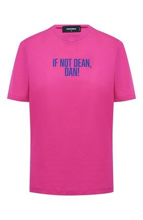 Женская хлопковая футболка DSQUARED2 розового цвета, арт. S72GD0298/S23009 | Фото 1