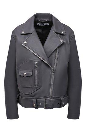 Женская кожаная куртка ACNE STUDIOS серого цвета, арт. A70066 | Фото 1