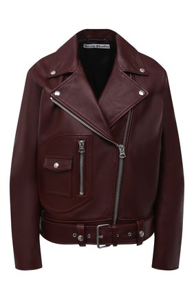 Женская кожаная куртка ACNE STUDIOS бордового цвета, арт. A70066 | Фото 1