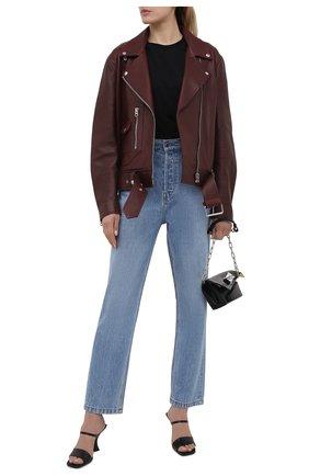 Женская кожаная куртка ACNE STUDIOS бордового цвета, арт. A70066 | Фото 2
