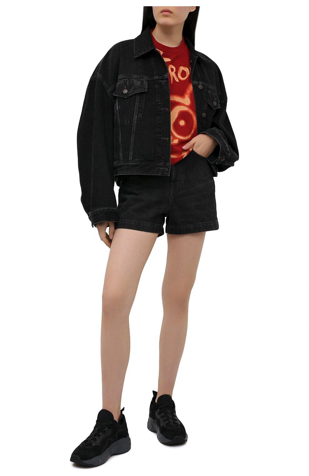Женская хлопковая футболка ACNE STUDIOS красного цвета, арт. AL0207   Фото 2