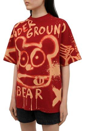 Женская хлопковая футболка ACNE STUDIOS красного цвета, арт. AL0207   Фото 3