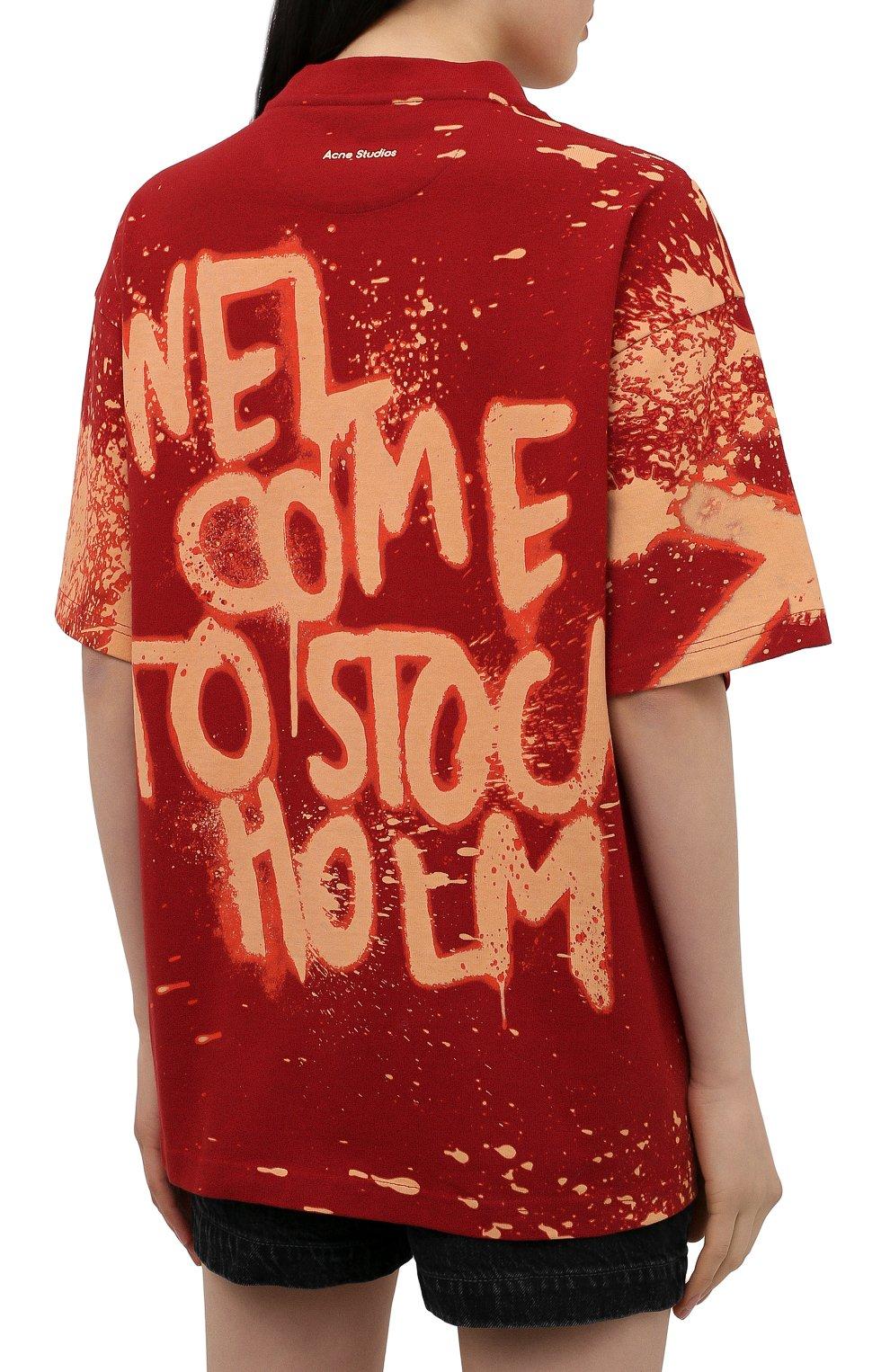 Женская хлопковая футболка ACNE STUDIOS красного цвета, арт. AL0207   Фото 4