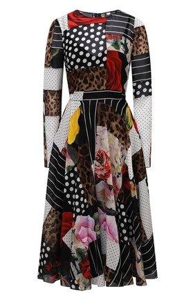 Женское шелковое платье DOLCE & GABBANA разноцветного цвета, арт. F6L0KT/GDX84 | Фото 1