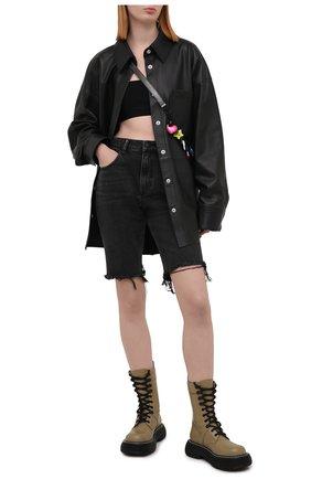 Женские джинсовые шорты DENIM X ALEXANDER WANG темно-серого цвета, арт. 4DC2214942 | Фото 2 (Стили: Гранж; Женское Кросс-КТ: Шорты-одежда; Кросс-КТ: Деним; Материал внешний: Хлопок, Деним; Длина Ж (юбки, платья, шорты): До колена)
