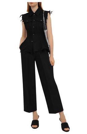 Женские хлопковые брюки ALEXANDER WANG черного цвета, арт. 1WC2214357 | Фото 2