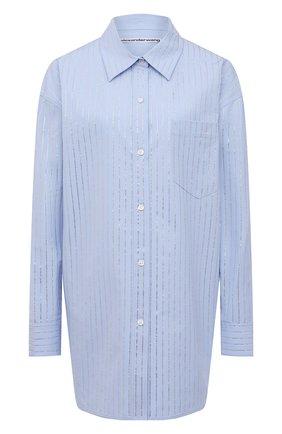Женская хлопковая рубашка ALEXANDER WANG голубого цвета, арт. 1WC2211421   Фото 1