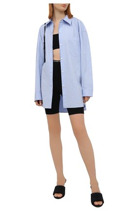Женская хлопковая рубашка ALEXANDER WANG голубого цвета, арт. 1WC2211421   Фото 2