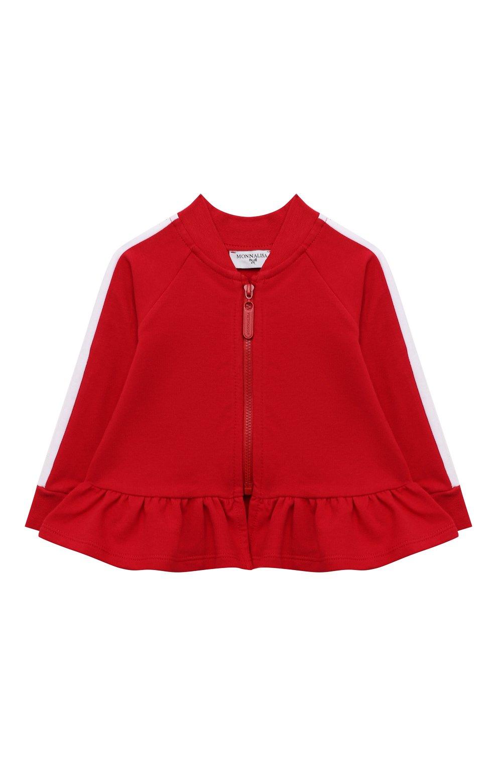 Детский хлопковая толстовка MONNALISA красного цвета, арт. 397802RA   Фото 1 (Рукава: Длинные; Материал внешний: Хлопок; Ростовка одежда: 12 мес   80 см, 18 мес   86 см, 24 мес   92 см)