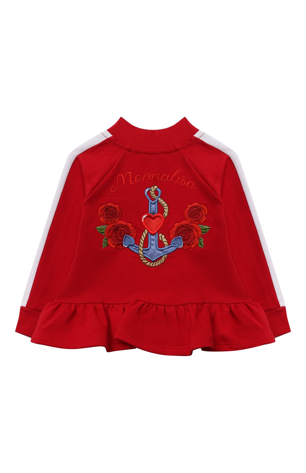 Детский хлопковая толстовка MONNALISA красного цвета, арт. 397802RA   Фото 2 (Рукава: Длинные; Материал внешний: Хлопок; Ростовка одежда: 12 мес   80 см, 18 мес   86 см, 24 мес   92 см)