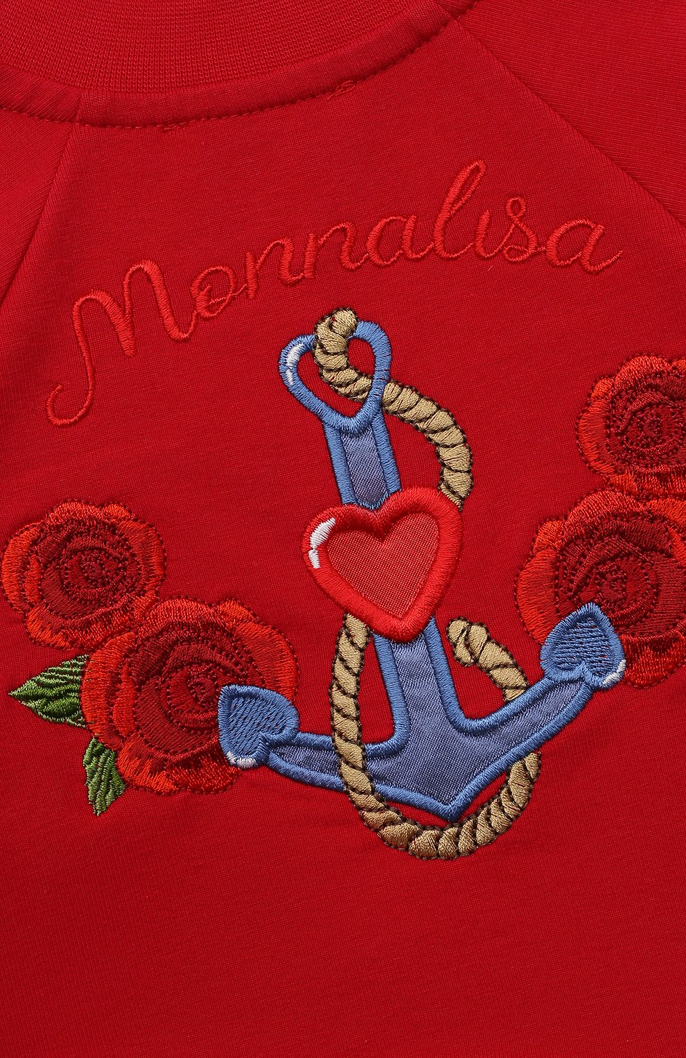 Детский хлопковая толстовка MONNALISA красного цвета, арт. 397802RA   Фото 3 (Рукава: Длинные; Материал внешний: Хлопок; Ростовка одежда: 12 мес   80 см, 18 мес   86 см, 24 мес   92 см)