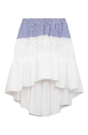Детская хлопковая юбка MONNALISA белого цвета, арт. 117704 | Фото 1