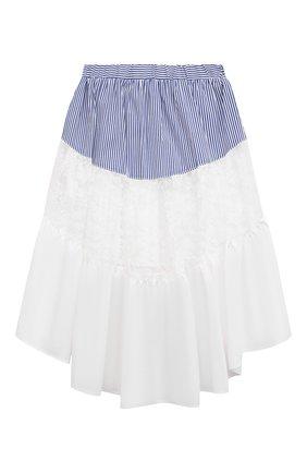 Детская хлопковая юбка MONNALISA белого цвета, арт. 117704 | Фото 2