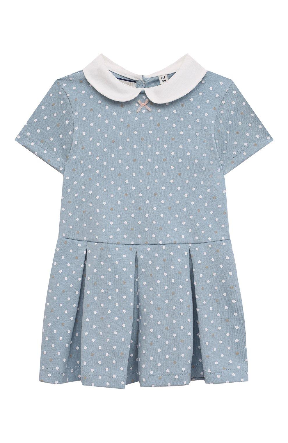 Детское хлопковое платье SANETTA FIFTYSEVEN голубого цвета, арт. 906942. | Фото 1