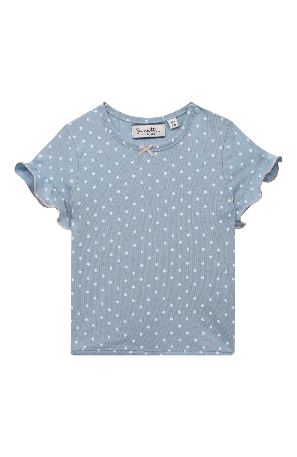 Детский хлопковая футболка SANETTA FIFTYSEVEN голубого цвета, арт. 906936. | Фото 1