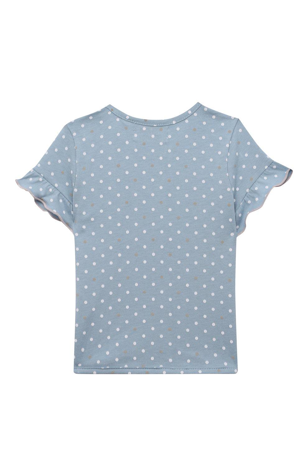 Детский хлопковая футболка SANETTA FIFTYSEVEN голубого цвета, арт. 906936. | Фото 2