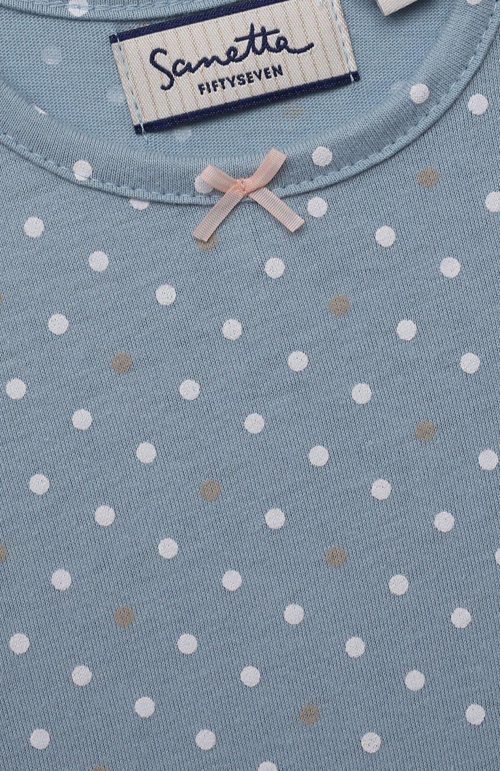 Детский хлопковая футболка SANETTA FIFTYSEVEN голубого цвета, арт. 906936. | Фото 3