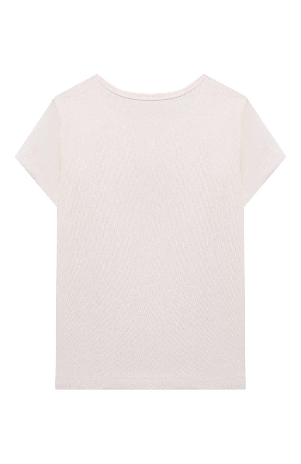 Детский хлопковая футболка SANETTA FIFTYSEVEN бежевого цвета, арт. 906931.   Фото 2