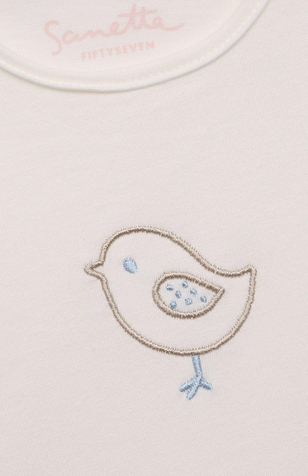 Детский хлопковая футболка SANETTA FIFTYSEVEN бежевого цвета, арт. 906931.   Фото 3