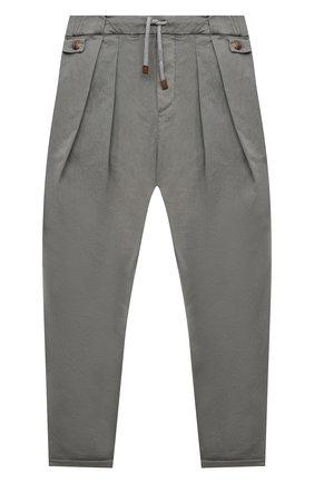 Детские хлопковые брюки BRUNELLO CUCINELLI серого цвета, арт. B289LP101B   Фото 1