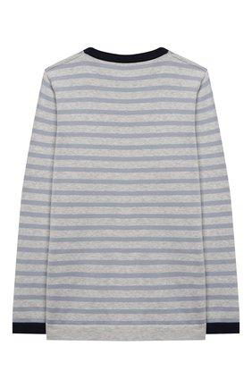 Детский хлопковый пуловер BRUNELLO CUCINELLI голубого цвета, арт. B29M13800B | Фото 2