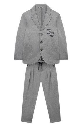 Детский шелковый костюм BRUNELLO CUCINELLI светло-серого цвета, арт. BQ858A117B | Фото 1 (Материал внешний: Хлопок, Шелк; Материал подклада: Купро; Кросс-КТ: костюм; Рукава: Длинные; Ростовка одежда: 10 - 11 лет | 140 - 146см, 8 лет | 128 см)