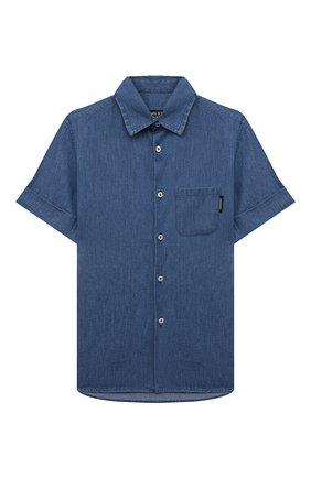 Детская хлопковая рубашка NEIL BARRETT KIDS синего цвета, арт. 027885 | Фото 1
