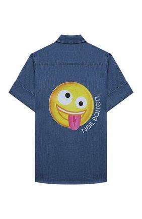 Детская хлопковая рубашка NEIL BARRETT KIDS синего цвета, арт. 027885 | Фото 2