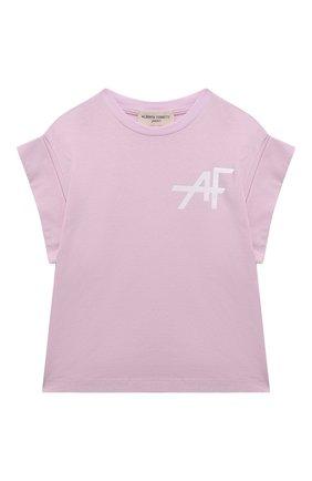 Детская хлопковая футболка ALBERTA FERRETTI JUNIOR розового цвета, арт. 027852   Фото 1