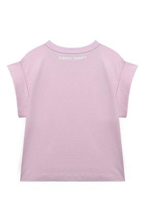 Детская хлопковая футболка ALBERTA FERRETTI JUNIOR розового цвета, арт. 027852   Фото 2