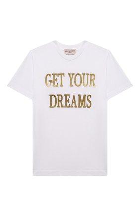Детская хлопковая футболка ALBERTA FERRETTI JUNIOR белого цвета, арт. 027837 | Фото 1