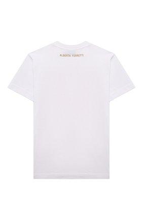 Детская хлопковая футболка ALBERTA FERRETTI JUNIOR белого цвета, арт. 027837 | Фото 2