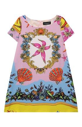 Детское платье из вискозы VERSACE разноцветного цвета, арт. 1000597/1A00417/8A-14A | Фото 1