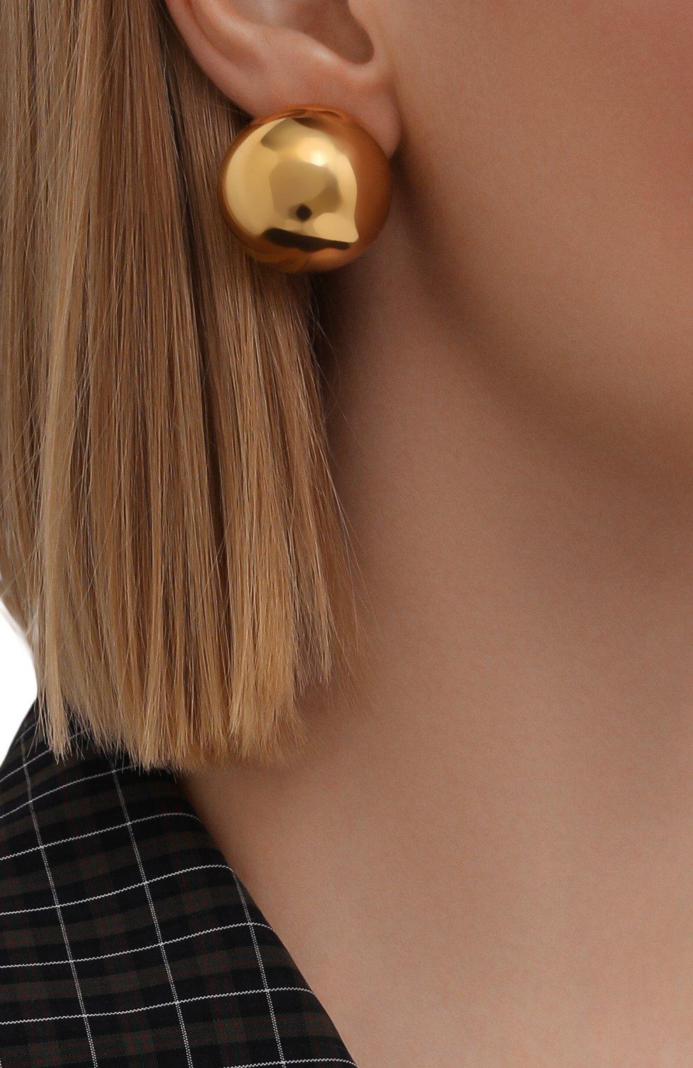 Женские серьги BALENCIAGA золотого цвета, арт. 659437/TZ32G   Фото 2 (Материал: Металл)