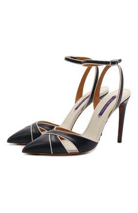 Женские кожаные туфли cedella RALPH LAUREN синего цвета, арт. 800841335 | Фото 1 (Подошва: Плоская; Материал внутренний: Натуральная кожа; Каблук высота: Высокий; Каблук тип: Шпилька)