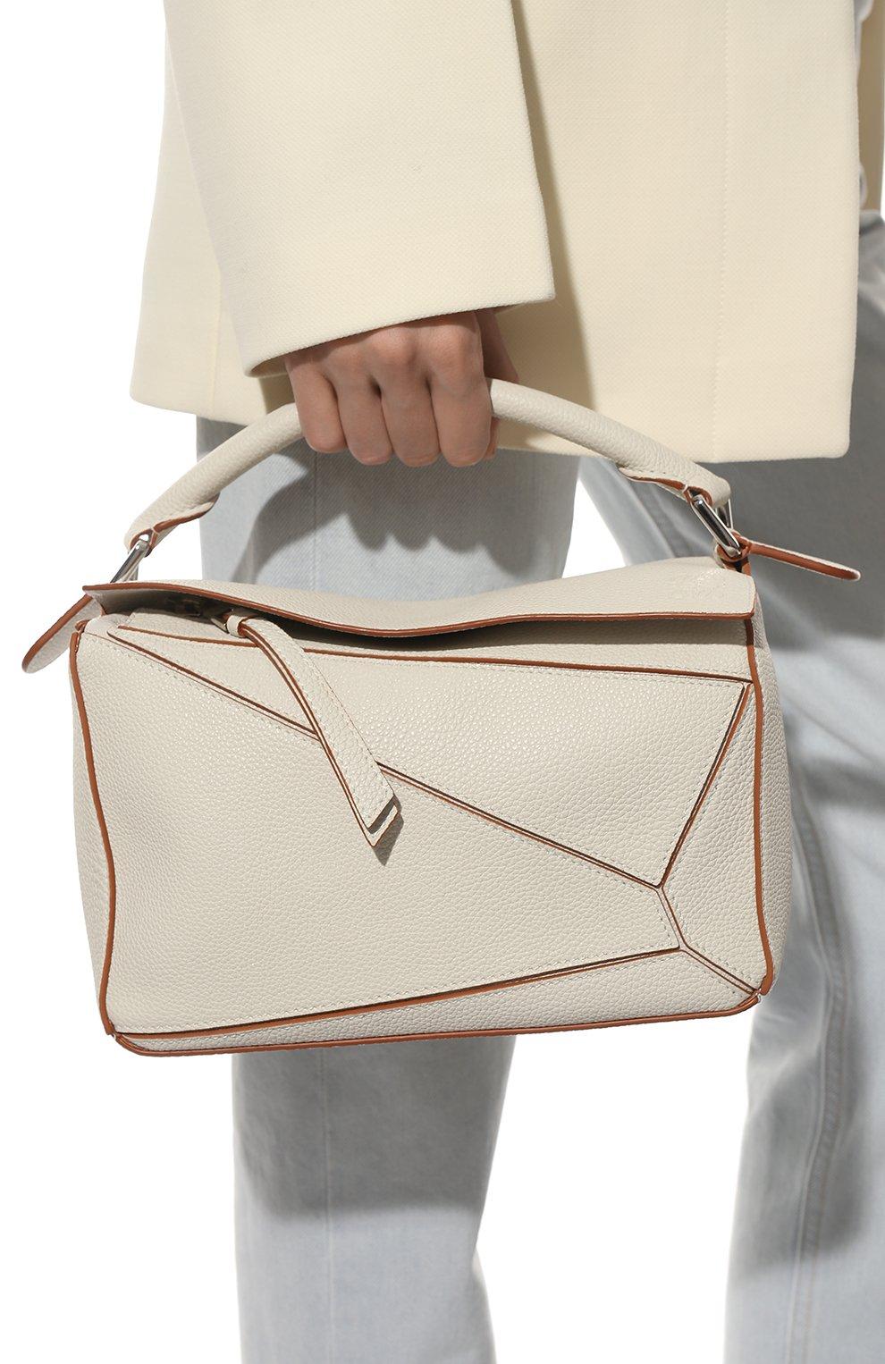 Женская сумка puzzle small LOEWE белого цвета, арт. A510S21X67 | Фото 2