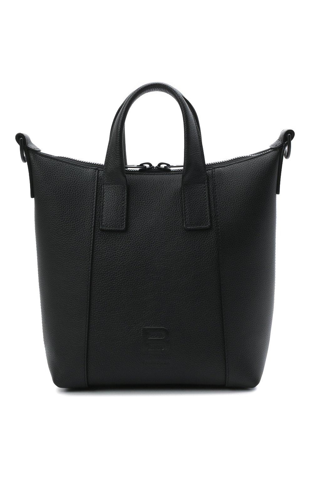 Мужская кожаная сумка-тоут hourglass BALENCIAGA черного цвета, арт. 644718/15Y37 | Фото 1