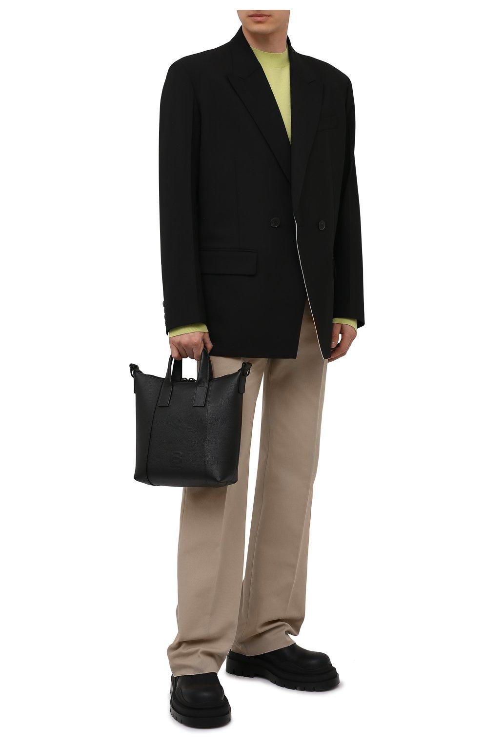 Мужская кожаная сумка-тоут hourglass BALENCIAGA черного цвета, арт. 644718/15Y37 | Фото 2