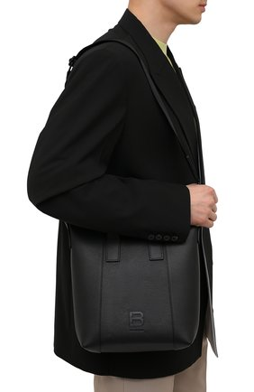 Мужская кожаная сумка-тоут hourglass BALENCIAGA черного цвета, арт. 644718/15Y37 | Фото 5