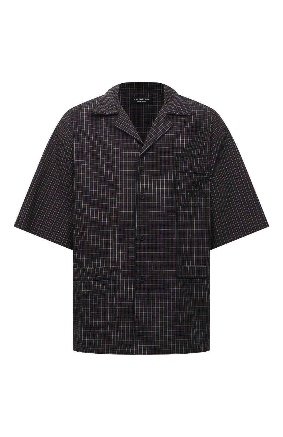 Мужская хлопковая рубашка BALENCIAGA хаки цвета, арт. 658845/TKM34   Фото 1 (Принт: Клетка; Рукава: Короткие; Случай: Повседневный; Длина (для топов): Стандартные, Удлиненные; Материал внешний: Хлопок; Воротник: Отложной; Стили: Минимализм)