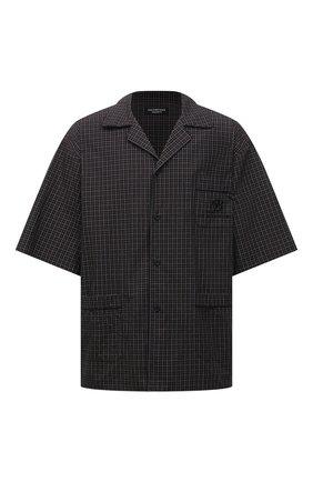 Мужская хлопковая рубашка BALENCIAGA хаки цвета, арт. 658845/TKM34 | Фото 1 (Материал внешний: Хлопок; Длина (для топов): Стандартные, Удлиненные; Рукава: Короткие; Принт: Клетка; Случай: Повседневный; Воротник: Отложной; Стили: Минимализм)