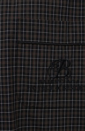 Мужская хлопковая рубашка BALENCIAGA хаки цвета, арт. 658845/TKM34   Фото 5 (Принт: Клетка; Рукава: Короткие; Случай: Повседневный; Длина (для топов): Стандартные, Удлиненные; Материал внешний: Хлопок; Воротник: Отложной; Стили: Минимализм)