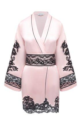 Женский шелковый халат MARJOLAINE розового цвета, арт. 3MAR2001 | Фото 1