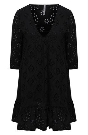 Женское хлопковое платье LA FABBRICA DEL LINO черного цвета, арт. 10314   Фото 1