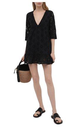 Женское хлопковое платье LA FABBRICA DEL LINO черного цвета, арт. 10314   Фото 2